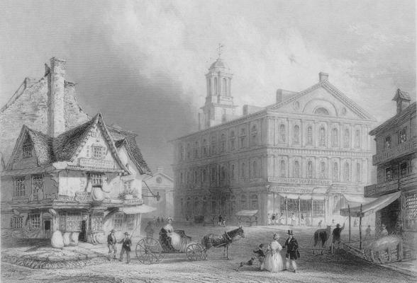 Etching of Fanuiel Hall, Boston. W.H. Bartlett. H. Griffiths