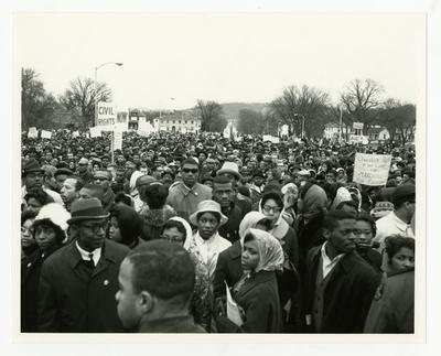 Crowd of marching protestors
