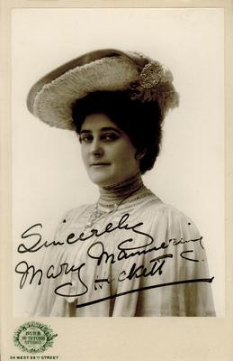 Mary Mannering Hackett; Photographer: Burr McIntosh Studio; New York