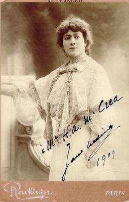 Jane Hading, signed -                          M. H.A. McCrea, Jane Hading, 1909; Photographer: Reutlinger; Paris