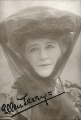 Ellen Terry; autographed with inscription:                          With Apologies for keeping it so long = E.T., 20 April, 1907; Photographer: Lallie Charles; London
