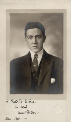 Edward Sheldon,                          To Henrietta McCrea, her friend Edward Sheldon May 1910; Photographer: Koehne; Chicago