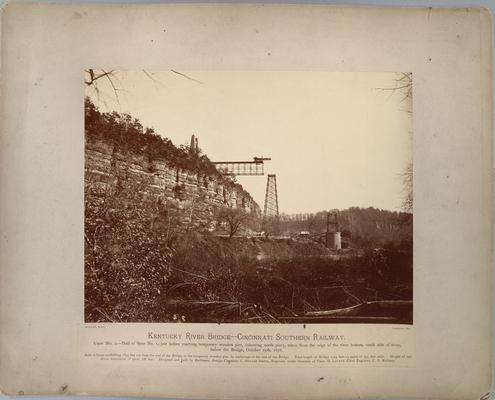Kentucky River Bridge, Cincinnati Southern Railway; View No 2, shows half of Span No. 1, just before reaching temporary wooden pier