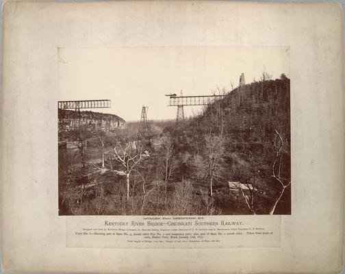 Kentucky River Bridge, Cincinnati Southern Railway; View No. 6, shows part of Span No. 3 (south side), Pier No. 2 and temporary pier; also part of Span No.2 (north side)