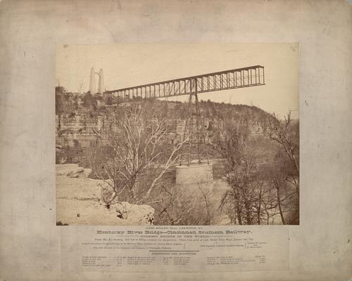 Kentucky River Bridge, Cincinnati Southern Railway; View No. 7, shows first half of bridge complete