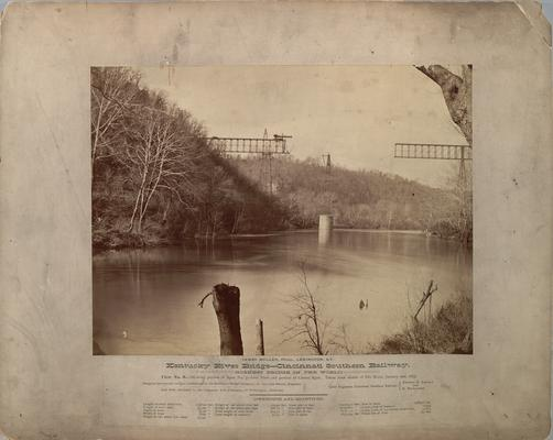 Kentucky River Bridge, Cincinnati Southern Railway; View No. 9, shows portion of Span 3, both piers and portion of center span