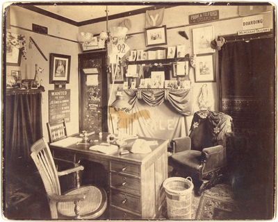 Preston Brown's dorm room at Yale, interior, handwritten on back in ink