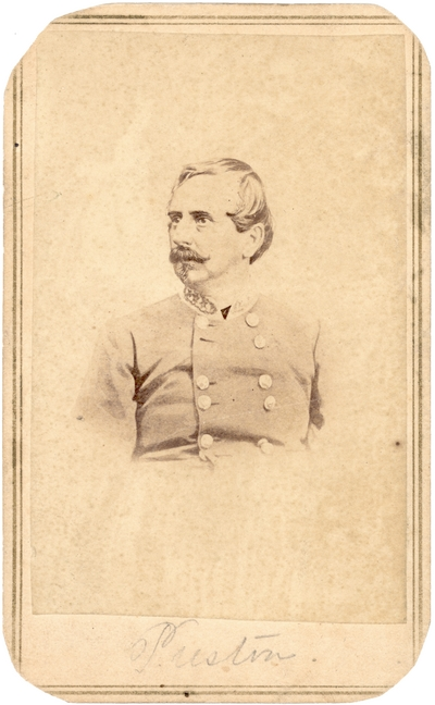 Major General William Preston (1816-1887), C.S.A.; Lexington, Kentucky native; served in the Kentucky State Legislature, in uniform