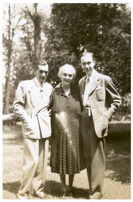 Margaret Wickliffe Preston Johnson (1885-1964), Philip Preston Johnston III (1918-1964), and a man identified as Prince Alexis
