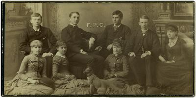 Four young men and four young women, indented on back as
