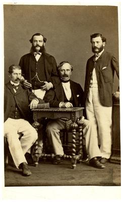 Major General William Preston (1816-1887), C.S.A.; Lexington, Kentucky native; served in the Kentucky State Legislature; Preston with three unidentified men