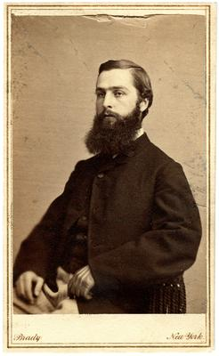 Unidentified man, 3 cent tax stamp on back, canceled with date: Dec 12, 1864