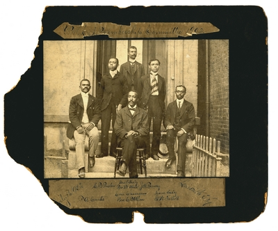 African American YMCA Membership Commiitee of 1902 ; men are identified by names written on border of photograph,