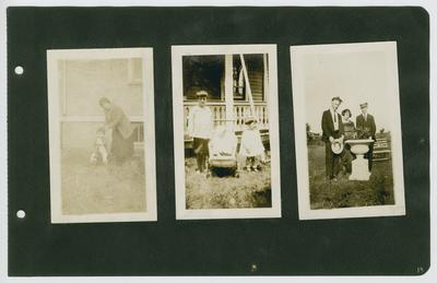 Page 19: Left- unidentified woman with infant on a rocking horse, standing outside; Center- 3 unidentified children standing outside in front of a house; Right- Daniel R. Landis, Ethel Landis, and unidentified male standing outside