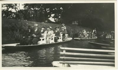 People in two rowboats.  Berlin vicinity Spreewald.