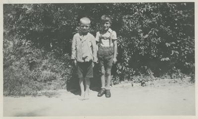 Two boys outside.