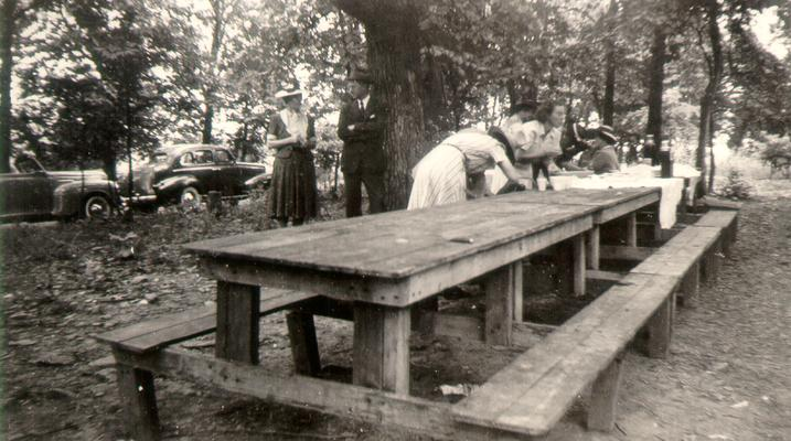 Blue Licks Battlefield State Park, July 7, 1940; Wilsons at benches in picnic area