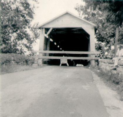 Snapshot of old covered bridge
