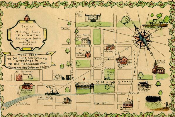 Map of downtown Lexington, 1928, Ye Old Time Christmas Greetings in Ye Old Fashioned Way; Mr. and Mrs. Asa Coleman Chinn