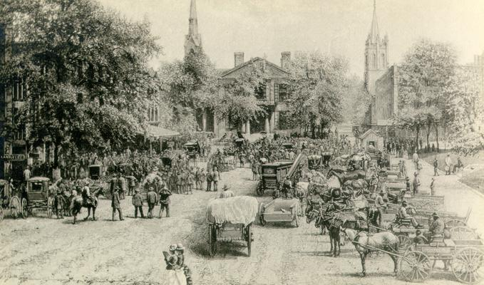 Framed copy of a lithograph of Cheapside