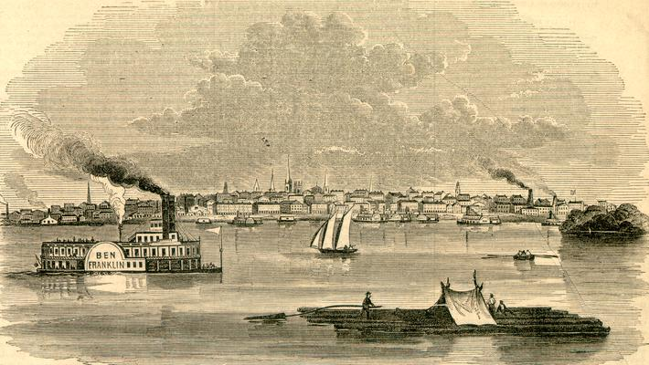 Photograph of engraving: View of the City of Louisville, Kentucky