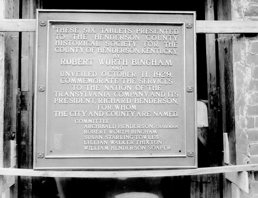 These six tablets presented to the Henderson County Historical Society for the county of Henderson, Kentucky, by Robert Worth Bingham and unveiled October 11, 1929. Commemorate the services to the nation of the Transylvania Company and its President, Richard Henderson, for whom the city and county are named