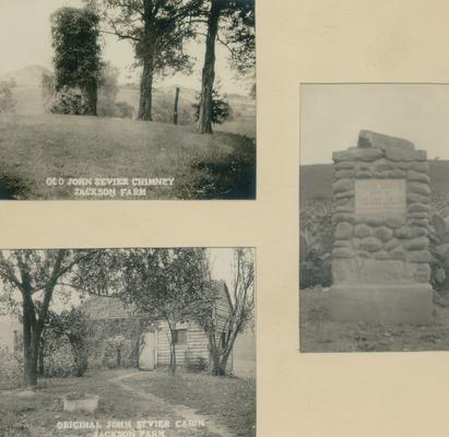 Three photos mounted in frame: 1) Old John Sevier Chimney, Jackson Farm; 2) Original John Sevier Cabin, Jackson Farm; and 3) stone monument, Plum Grove; Visited by Mr. and Mrs. Samuel M. Wilson Sunday
