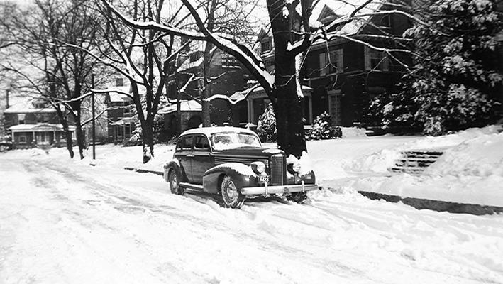 Automobile parked in the snow