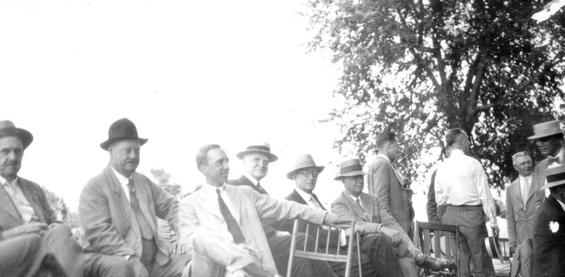 Steve Leatherston's Fish Fry, at Reservoir No. 3. Group snapped by Judge George B. Kinkead Twelve men in group, including Samuel M. Wilson