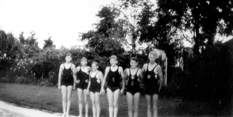 Haggin Swimming Pool; Ned Shelby and Francis Wilson, nephews of Samuel M. Wilson, and four other boys