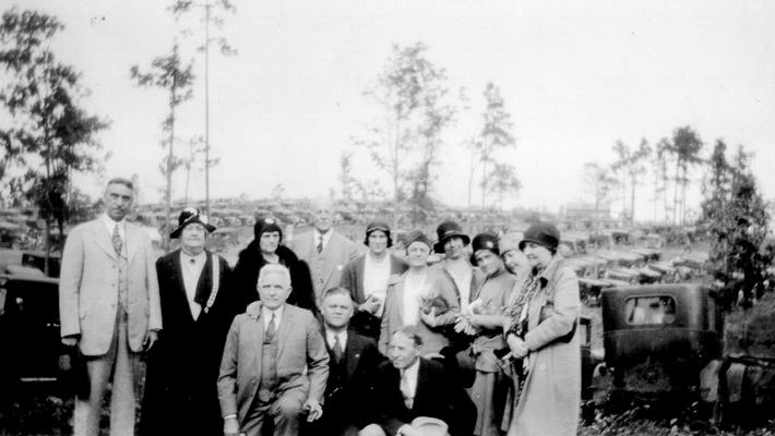Group of people, including Samuel M. Wilson and Mary Shelby Wilson, at Kings Mountain Shelbys. Kings Mtn. Battleground