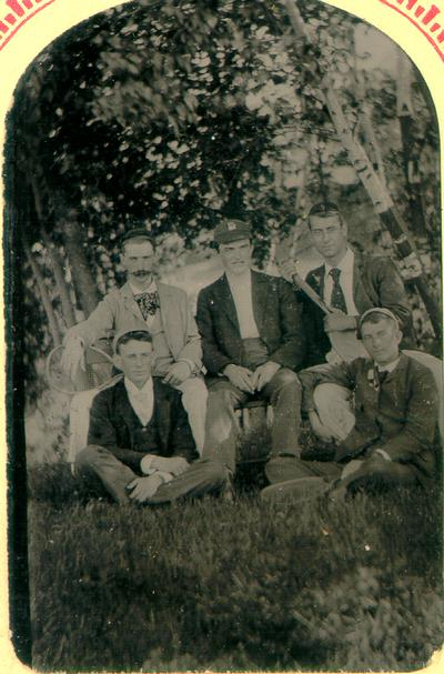 Five men, Northfield, Mass.; T. Mine, Mt. Hermon, Mass. Photographer; Listed and described in 19th Century Photographs, a catalogue from UK Special Collections