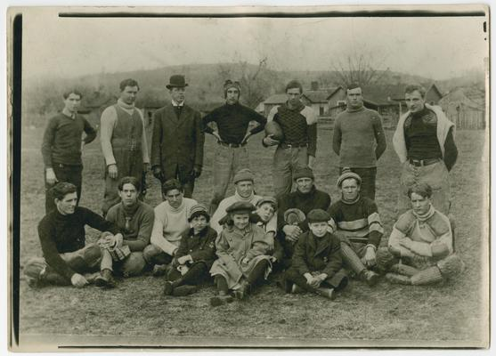 Vinson with football players at Centre College, Danville, Kentucky. Vinson, center of back row in football uniform