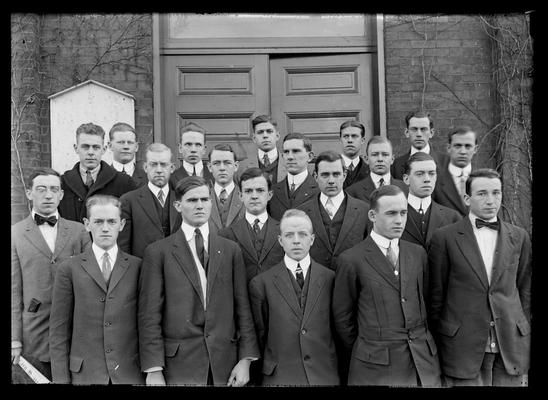 Group of boys in front of Mechanical Hall