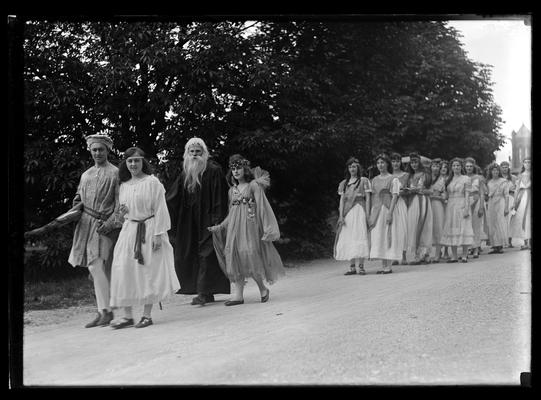 Pageant, procession of actors and dancers