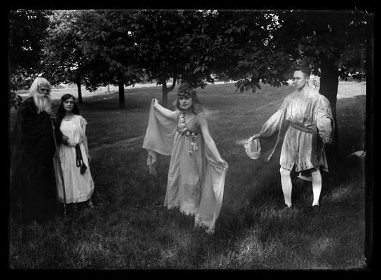 Pageant, play, four actors, old man to left