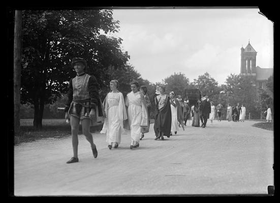 Pageant, procession along main drive, Barker Hall in background