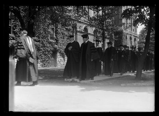 Commencement procession, passing back of Administration Building (Main Building)