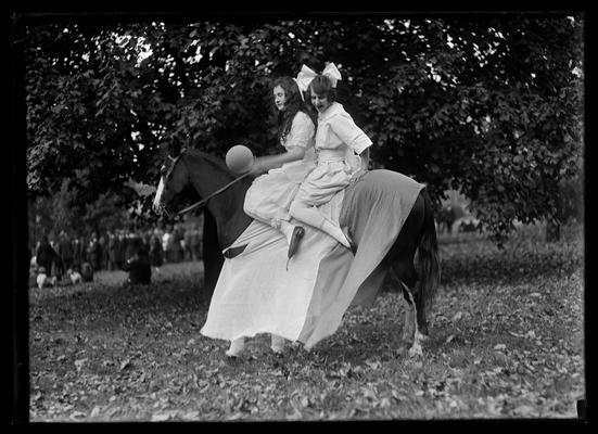 Golden Jubilee, two girls on horse