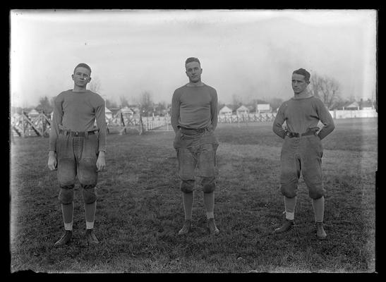 Three football players, Gay, Heick, Gumbert