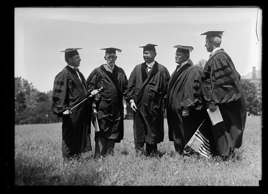Commencement, five trustees, tent to right
