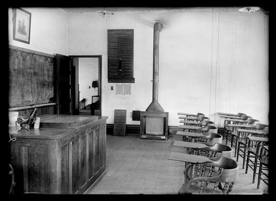 Mining engineering lecture room, stove with pipe