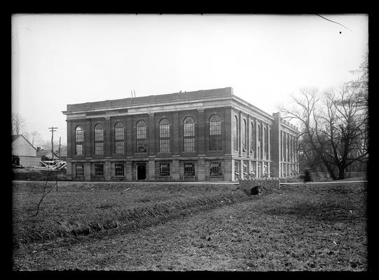 Gym, alumni, view from South Lime, 1924, note tree to right