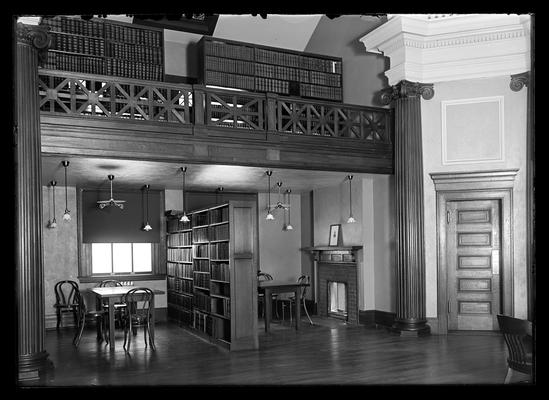 Library, Carnegie Library, interior showing book shelves in balcony
