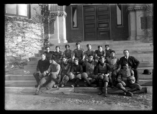 Football team on steps of Health Building (old Chemistry Building)