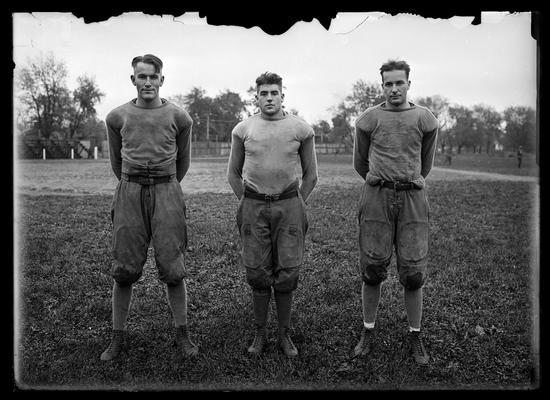 Football, three players, 1919 season, Brikett Lee Pribble on left