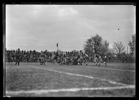 Football game at Lexington, Virginia Military Institute 3-2 against University of Kentucky, action on twenty yard line
