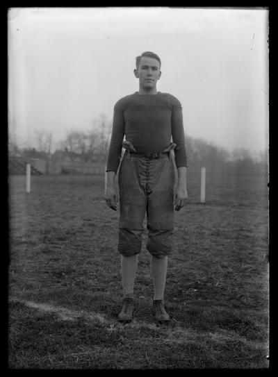 Football player on bottom of field