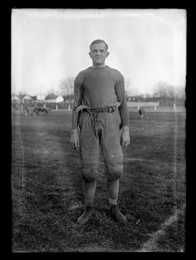 Football player on middle of field