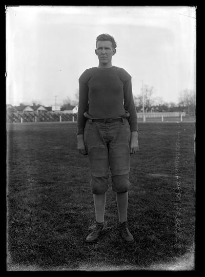 Football player on bottom of field